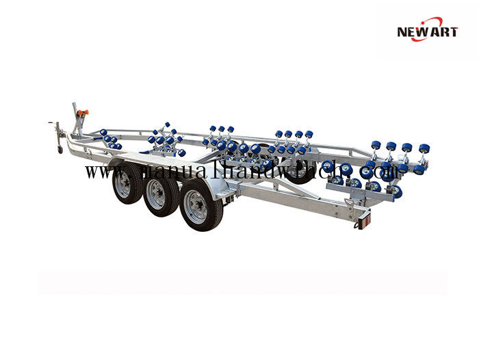 Mechanical Brake 3 Axle Boat Trailer , 10000X2500mm Pontoon Boat Trailer
