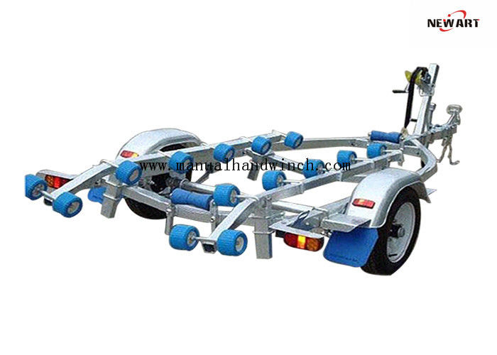 4.3m X 1.5m Rubber Roller Small Boat Trailer , Hydraulic Galvanised Boat Trailer