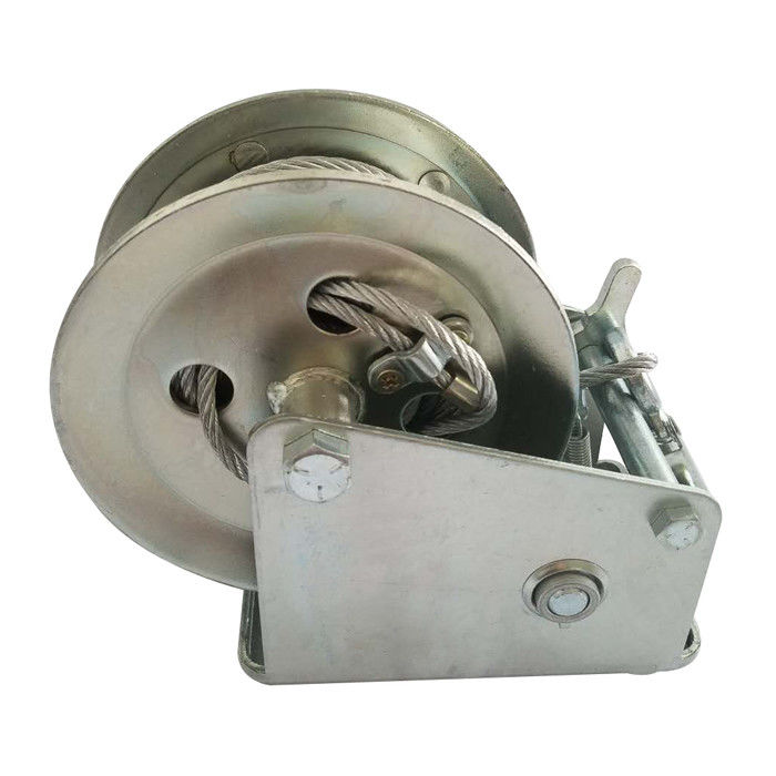 Marine Power Coating Manual Hand Winch With Cable 1600LB / 727kg Capacity