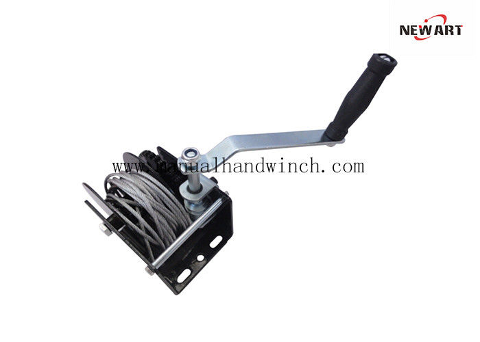 Steel A3 1500 lb Worm Drive Hand Winch Black Spraying Worm For Warehouses Farming